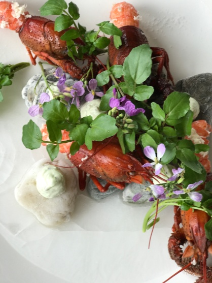 Crayfish and watercress at Amisfield Bistro