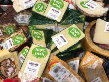 Stickers denoting Irish cheese at Supervalu